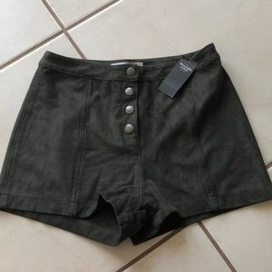 NWT High Waist Olive Suede Shorts
